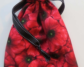 Red Poppy Lined Drawstring Fabric Gift Bag