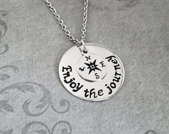 Enjoy the Journey Necklace SMALL Charm Necklace Compass Necklace Long Distance Relationship Graduation Gift Travel Jewelry Gift College Gift