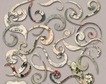 Vintage Paper Swirls - 30 Swirls -Clip Art -  Digital Scrapbooking Elements, Cards, Crafts  -   Commerical Use -  INSTANT DOWNLOAD -1.75