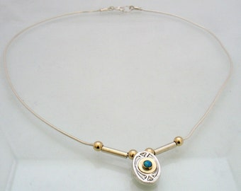 Victorian Necklace - oval silver pendant with gold and Lab Opal