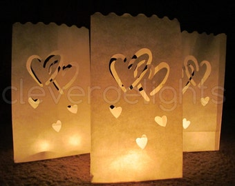 20 Luminary Bags - White - Interlocking Hearts Design - Wedding, Reception, and Party Decor - Flame Resistant Paper - Candle Bag - Luminaria
