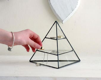 Jewelry Display Box, A Geometric Stained Glass Pyramid, Use As A Jewelry Display Box Or As Your Geometric Jewelry Organizer