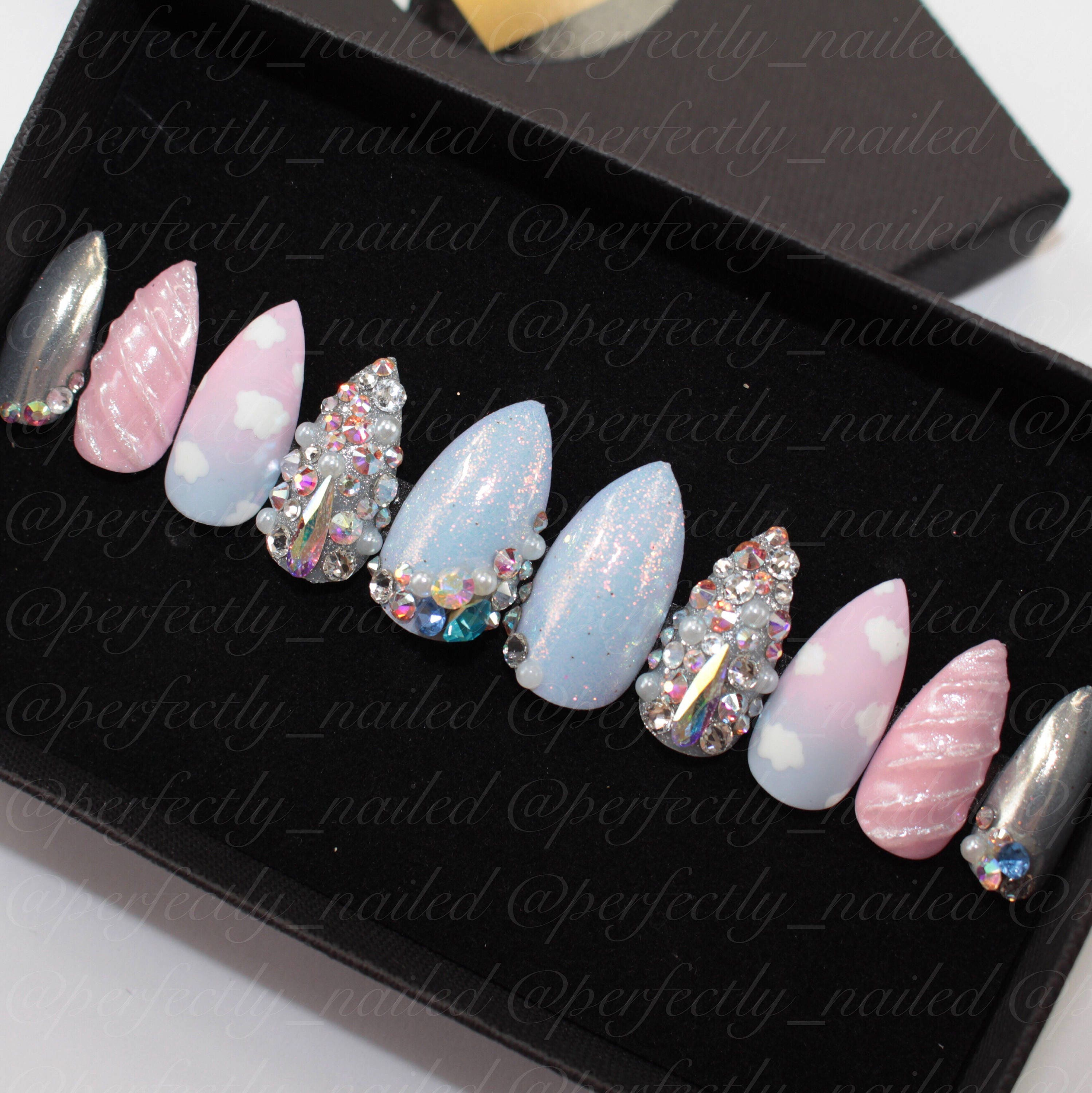 Pastel pink and blue ombre unicorn nails with mermaid nails ...