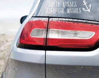 """Car Decal """"Salty kisses, starfish wishes"""" Water and weather resistant- Handmade to Order"""