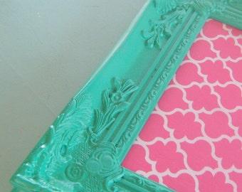 Pink and Turquoise Cork Board Ornate Vintage Inspired FRamed Bulletin Board Quatrefoil Many Sizes Magnetic Board
