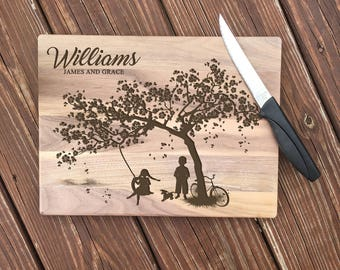 Personalized Wood Cutting Board, Kids on a Swing, Cheese Board, Chopping Block, Gift for the Couple, Bridal Shower, Laser Engraved, Wood