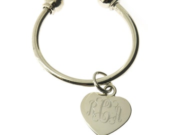 925 Sterling Silver Heart Keychain Monogrammed Engraving