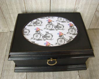 Black Jewelry Box, Bicycle Jewelry Box, Black Trinket Box, Unique Jewelry Box, Up Cycled Valet Box, Decoupaged Jewelry Box