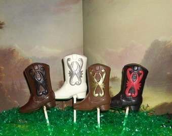 Chocolate Cowboy Boot Lollipops