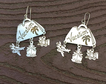 Vintage Jewelry Silver Vacation Dangle Earrings