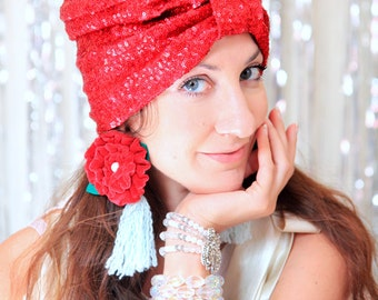 Holiday Party Turban Hat in Christmas Red Sequins - Women's Sparkle Sequin Head Wrap - Glitter Hair Accessories