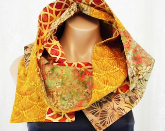 Batik Print Scarf, Multiple Prints, Extra Long Scarf, Colorful Fashion Statement, Endless Scarf, Multicolor, Bright Colors