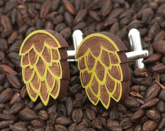 Natural Wood Green Hop Cufflinks