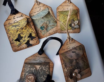 5 Handmade Vintage gift tags. Junk journal tags. Scrapbooking tags.