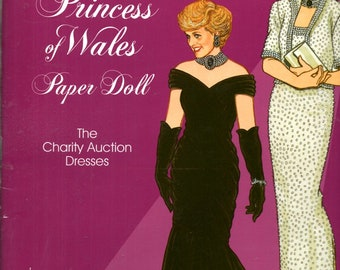 Diana Princess of Wales Paper Doll Charity Auction Dress Catherine Walker Hachi Edelstein Azagury Book by Tom Tierney