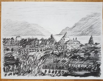 Drawing in charcoal, Lausanne from Montriond Hill, Lake Geneva