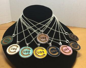 """Chicago Cubs Necklace, Cubs Necklace, Chicago Cubs Jewelry, 24"""" Necklace,"""