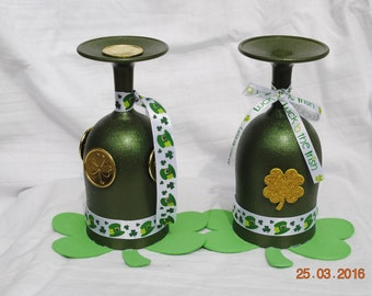 Hand painted wine glass candle holders for St. Patrick's Day!