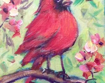 Red cardinal bird no.6 painting original art 5 x 7