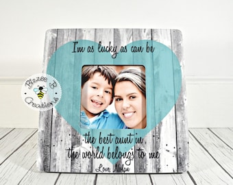ON SALE Gift For Aunt, Aunt & Nephew Picture Frame, I'm As Lucky As Can Be, Auntie Gift, Favorite Aunt Gift, Aunt and Nephew Gift