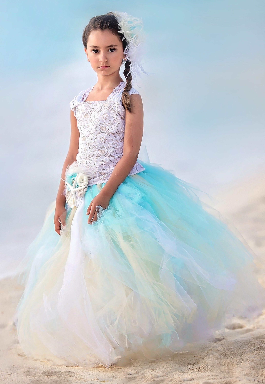 Beach Wedding Dress Flower Girl Dress Tulle Dress Wedding Dress ...