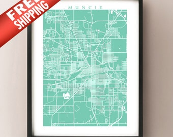 Muncie, IN map art print
