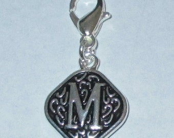 Vintage  Letter M  Dangle  Lobster Claw for Necklace - Bracelets - Key Chains