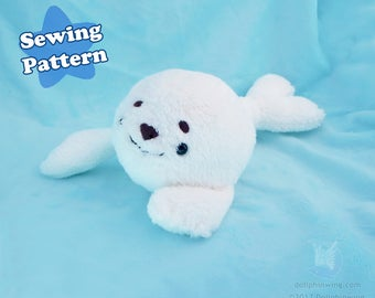 Arctic Seal Plushie Sewing Pattern Plush Pattern PDF Pattern Kawaii Seal Plushie Sealife Digital Download