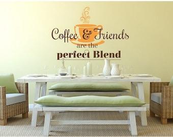 Coffee and Friends wall decal, sticker, mural, vinyl wall art