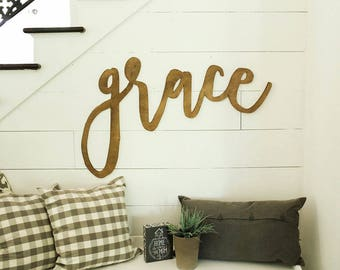 grace | 3D word | cutout word | wooden word | gallery wall