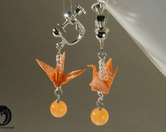 Origami Jewelry, Origami crane clip on earrings - orange crane and jade