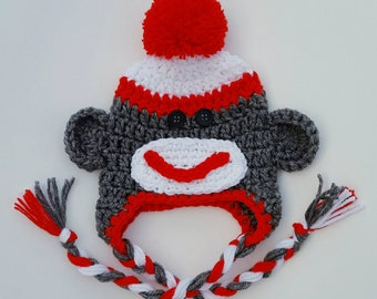 Sock Monkey Hat, Crochet Beanie, Crochet Sock Monkey, Knitted Sock Monkey, Sock Monkey Beanie, Newborn Photo Prop, Toddler Hat, Baby Beanie