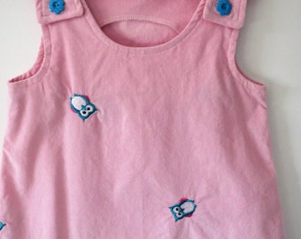 Girl, 18 mths - 2T Jumper Dress/Tunic. Pink cordoruy with small embroidery owls.