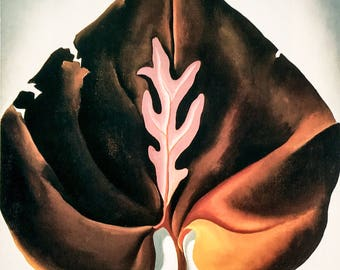 Georgia O'Keeffe / Dark and Lavender Leaves / 1931 / Art / Book Page Print / Published 1990's