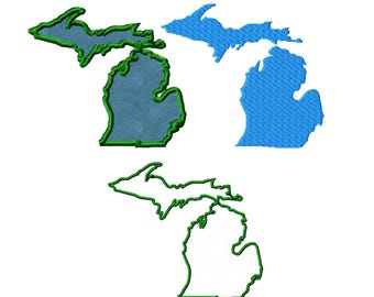 Michigan Applique Fill and Outline Machine Embroidery Digital Download