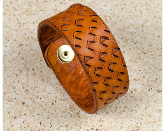 "Tan basketweave leather cuff - 7"" wearable size"
