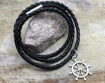 Ship Wheel Bracelet Faux Leather Bracelet Ship Wheel Charm Bracelet Ship Wheel Gift Ship Wheel Jewelry Women's Men's Bracelet Beach Bracelet