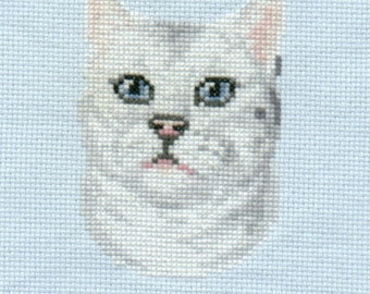 Grey-White Cat counted cross-stitch chart