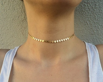 14k gold filled/ Sterling Silver Coin Choker disc choker sequins choker necklace