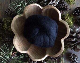 Wool roving supply for needle felting, Black, 1/2 ounce or 1 ounce, black wool roving for needle-felting, craft supply for felting