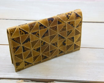 Patchwork Snakeskin Clutch, Gold and black snakeskin clutch, Made in Tokyo, 80's style, Modern vintage style, Geometric patchwork clutch