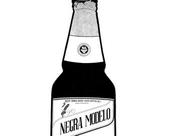 Negra Modelo bottle - Hand-drawn illustration print