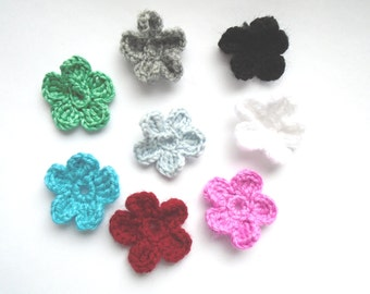 Set of 8 crochet appliques, crochet applique, crochet, crochet flowers, embellishment, crochet appliques, crochet flower, applique, flower