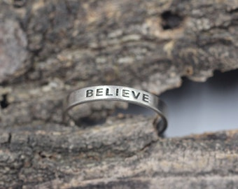 "Sterling Silver ""Believe"" Ring Band Engraved Size 8"