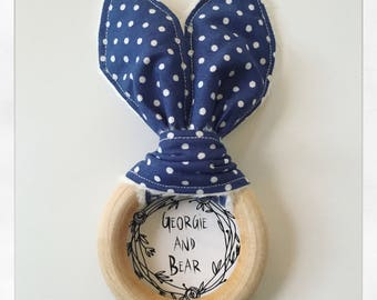 Blue bunny ear wooden teething ring