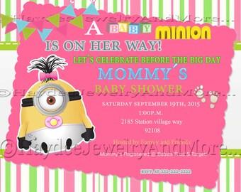 Girlu0027s Minions Baby Shower Invitation!