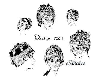1950s Veils, Birdcage or Wedding Veils or Fascinators  - 6 Veils PDF 7064