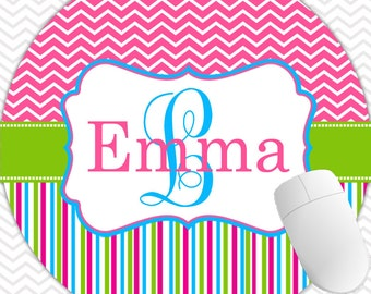 Gift Ideas Personalized Round Mouse Pad, Monogrammed Mouse Pad, Monogrammed Mousepad, Custom Mouse Pad, Custom Mousepad