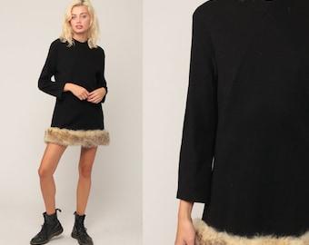 60s Mod Dress Black WOOL Dress FAUX FUR Dress Mini Party Formal Winter 1960s Shift Vintage Twiggy Long Sleeve Sixties Minidress Medium