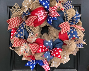 Patriotic Wreath ~ Burlap Patriotic Wreath ~ July 4th Wreath ~ Americana Wreath ~ Memorial Day Wreath